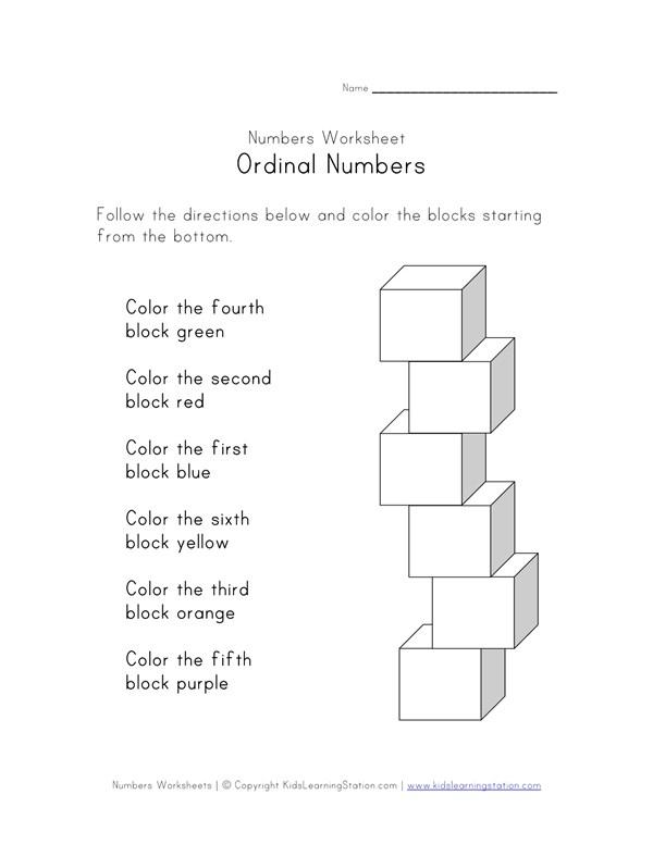Ordinal numbers blocks worksheet all kids network ccuart Gallery