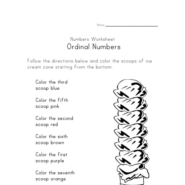 ordinal numbers printable