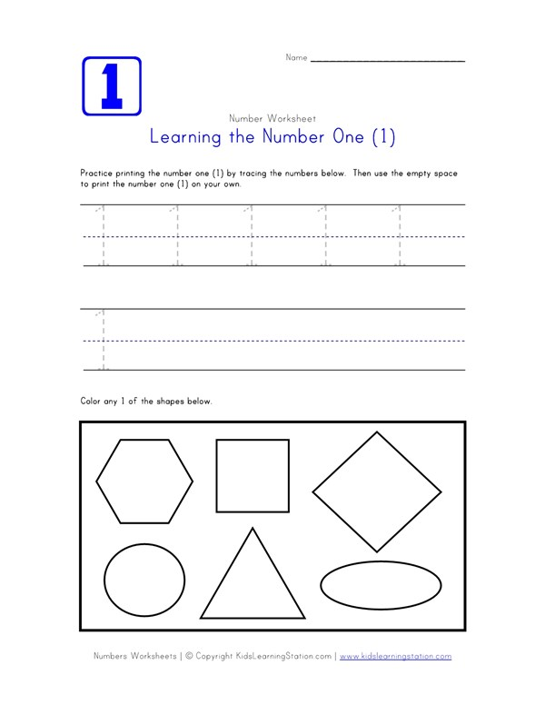 Traceable Number One Page | Preschool Number Pages | All Kids Network
