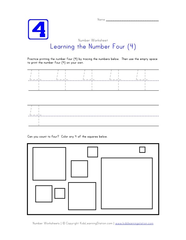 Traceable Number Four Page | Preschool Number Pages | All Kids Network