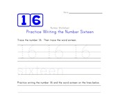 Writing Number Sixteen 16