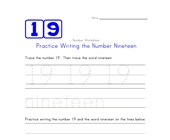 Writing Number Nineteen 19