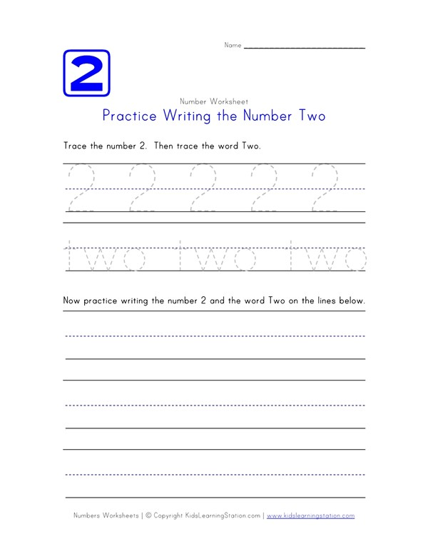 Practice Writing The Number Two Number Worksheets All Kids Network