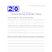 Writing Number Twenty 20