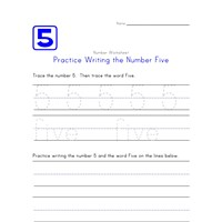 Writing Number Five 5