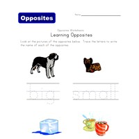 opposite words worksheet - big/small and cold/hot