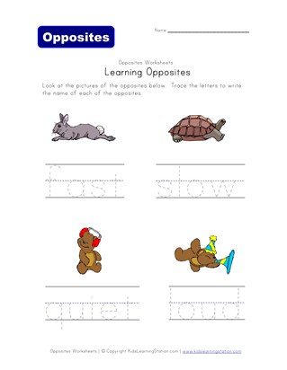 opposite words worksheet - fast/slow and quiet/loud