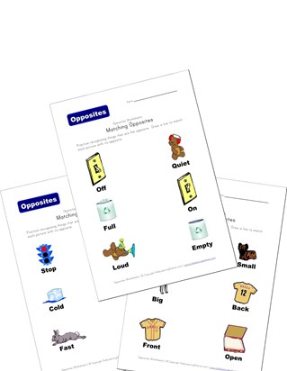match opposites worksheets