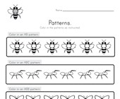 Bug Color the Patterns Worksheet