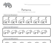 Dinosaur Color the Patterns Worksheet