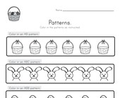 Easter Color the Patterns Worksheet