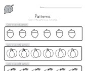 Fall Color the Patterns Worksheet