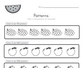 Fruit Color the Patterns Worksheet