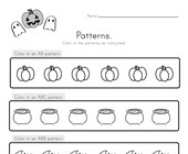 Halloween Color the Patterns Worksheet