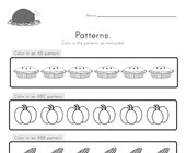 Thanksgiving Color the Patterns Worksheet