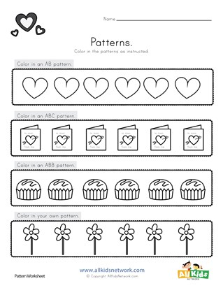 Valentine's Day Color the Patterns Worksheet