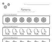 Winter Color the Patterns Worksheet