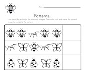 Bug Cut and Paste Patterns Worksheet