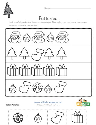 Christmas Cut and Paste Patterns Worksheet