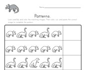 Dinosaur Cut and Paste Patterns Worksheet