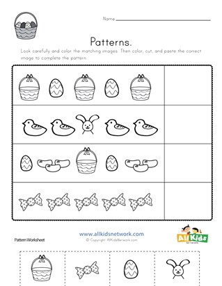 Easter Cut and Paste Patterns Worksheet