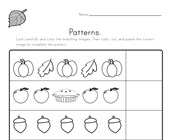 Fall Cut and Paste Patterns Worksheet