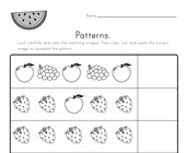 Fruit Cut and Paste Patterns Worksheet