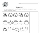 Halloween Cut and Paste Patterns Worksheet