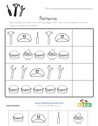 Labor Day Cut and Paste Patterns Worksheet