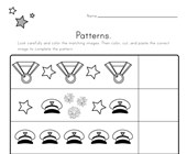 Memorial Day Cut and Paste Patterns Worksheet