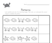 Ocean Cut and Paste Patterns Worksheet