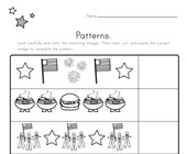 Patriotic Cut and Paste Patterns Worksheet