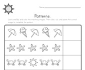 Summer Cut and Paste Patterns Worksheet