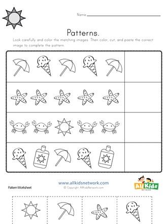 Summer Cut And Paste Patterns Worksheet