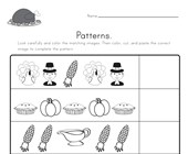 Thanksgiving Cut and Paste Patterns Worksheet