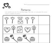 Valentine's Day Cut and Paste Patterns Worksheet