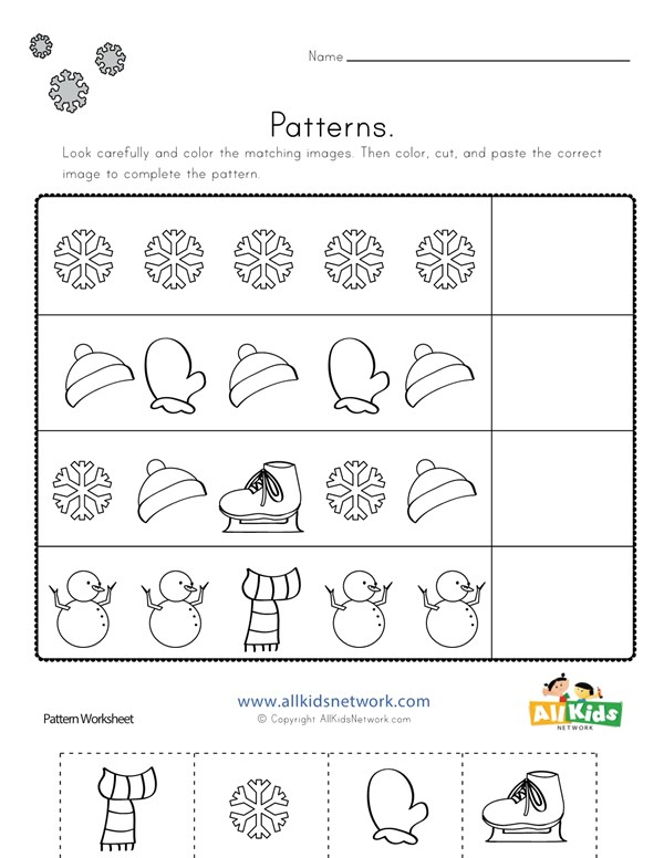 Winter Cut and Paste Patterns Worksheet | All Kids Network