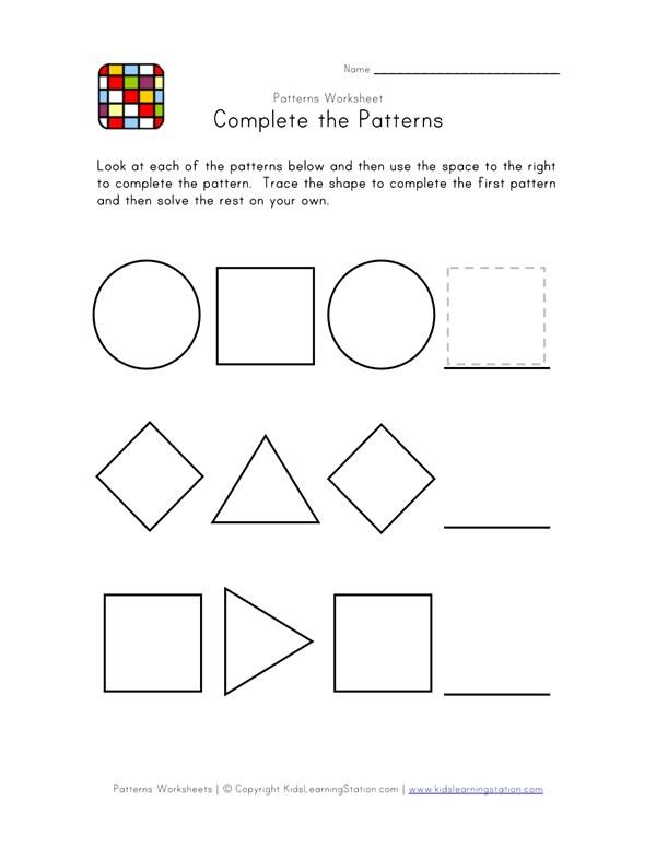 Easy Preschool Patterns Worksheet 2 Black And White All Kids Network