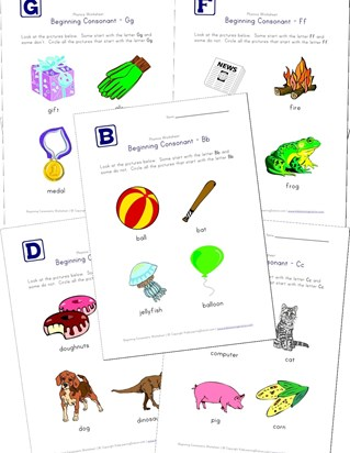 beginning consonants worksheets