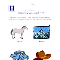 consonant h worksheet