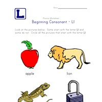 consonant l worksheet