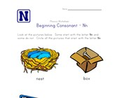 consonant n worksheet