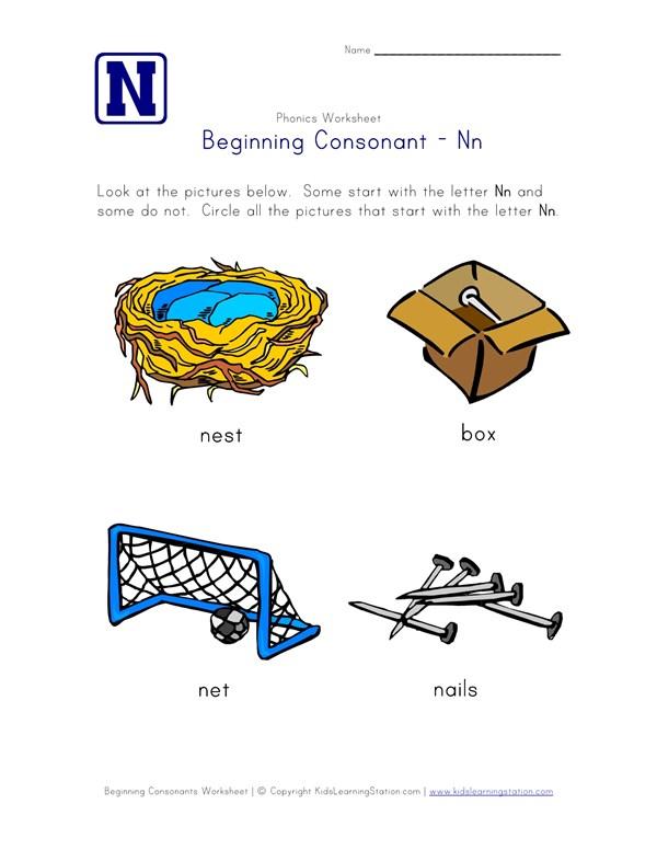 Beginning Consonants Letter N Worksheet All Kids Network