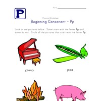 consonant p worksheet