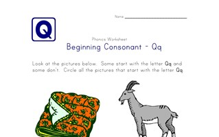 consonant q worksheet