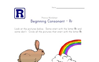 consonant r worksheet