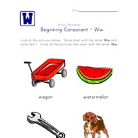 consonant w worksheet