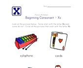 consonant x worksheet