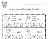 Animal Beginning Letters Worksheet