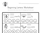 Bug Beginning Letters Worksheet